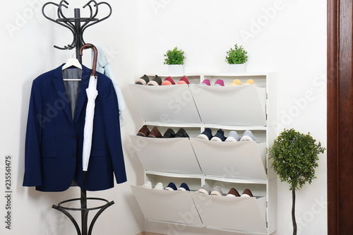 Shoe cabinet with footwear in room. Storage ideas