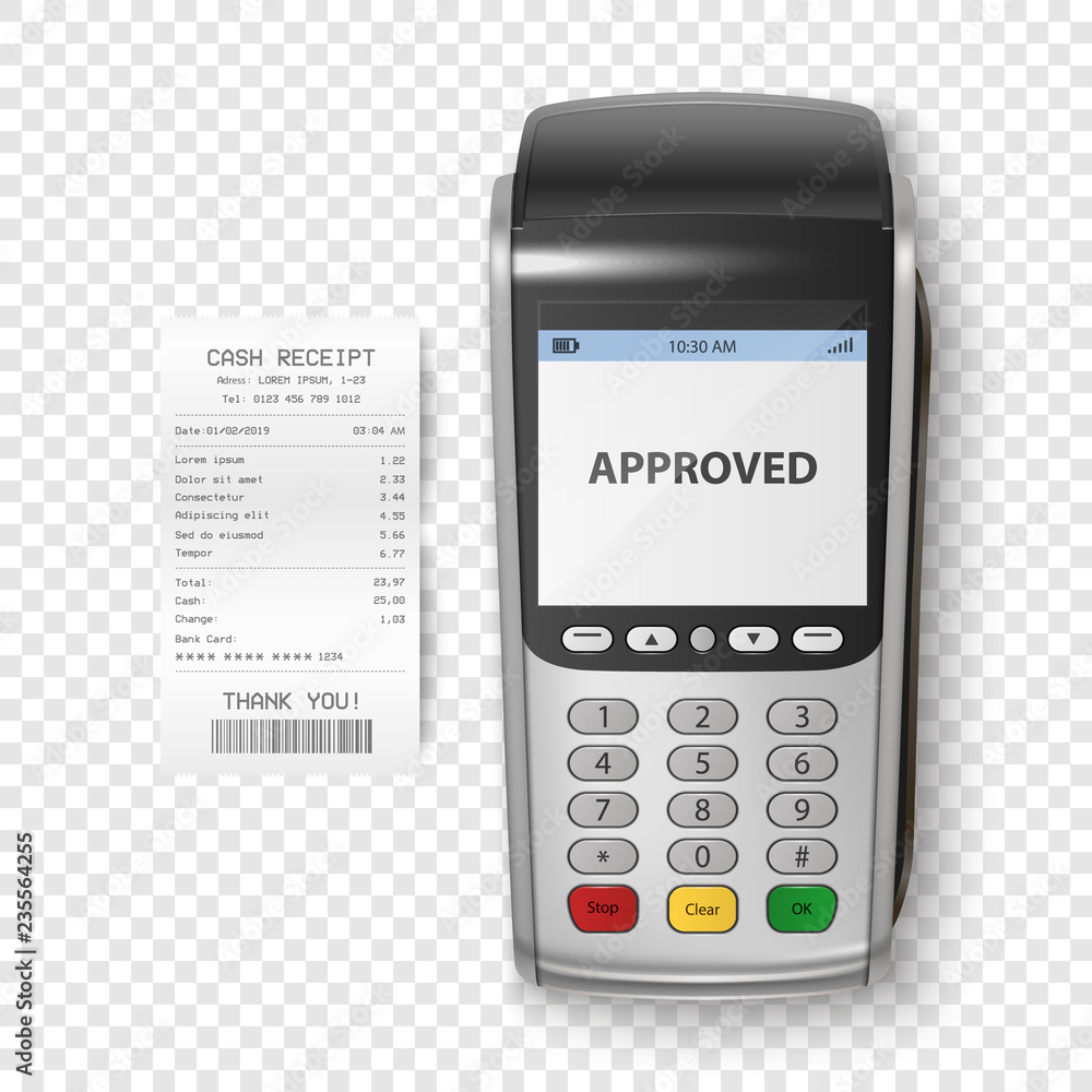 Fototapeta Vector Realistic Silver 3d Payment Machine. POS Terminal with Receipt Closeup Isolated. Design Template of Bank Payment Terminal, Mockup. Processing NFC payments device. Top View