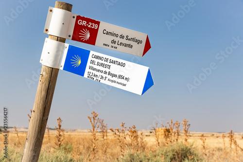 Camino de Santiago de Levante and del Sureste signpost in the countryside next t Wallpaper Mural
