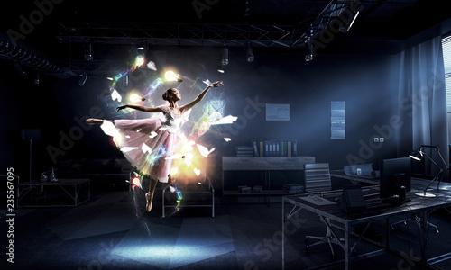 Fotografie, Obraz  Dreaming to become ballerina. Mixed media