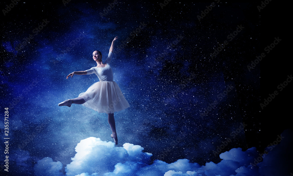 Fototapety, obrazy: Ballet dancer in jump