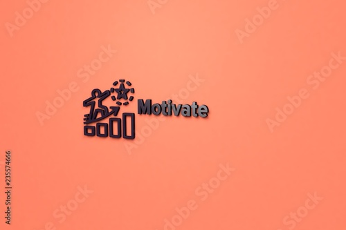 Fotografía  3D illustration of Motivate, dark-violet color and dark-violet text with orange background