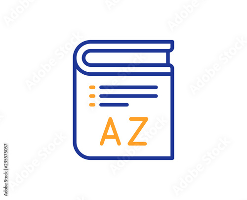 Vocabulary Line Icon Book Glossary Sign Colorful Outline Concept Blue And Orange Thin