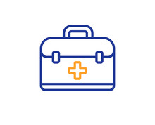 First Aid Kit Line Icon. Medical Case Sign. Colorful Outline Concept. Blue And Orange Thin Line Color First Aid Icon. Vector