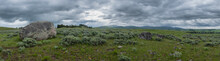 Panorama Of Large Boulder In F...