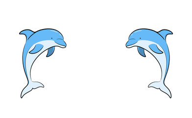 Fototapeta Delfin A hand drawn vector cartoon illustration of twin dolphins facing each other