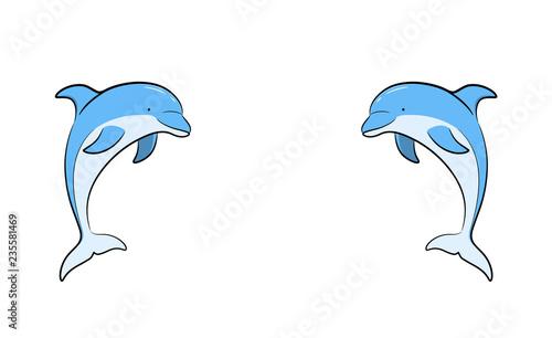 Fototapeta premium Ręcznie rysowane ilustracja kreskówka wektor bliźniaczych delfinów naprzeciw siebie