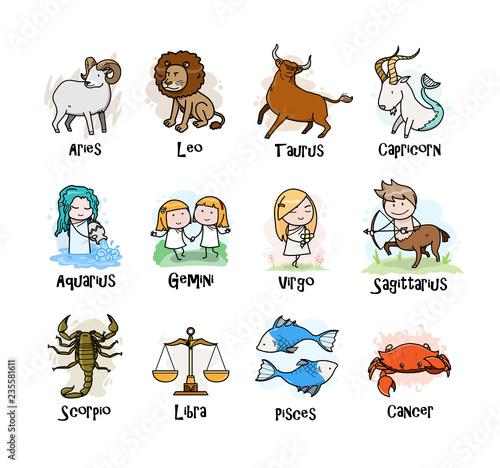 Photo A collection of Zodiac symbols icon, hand drawn vector cartoon illustration of c
