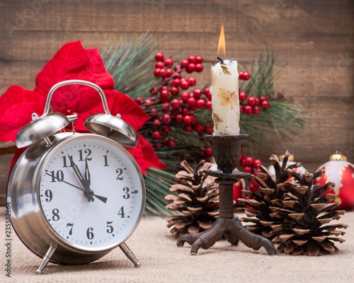 afd4e57cb1ec Winter holiday decoration, Christmas and New Year concept with alarm ...