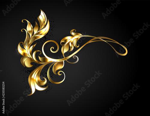 Asymmetric gold frame scroll Canvas Print