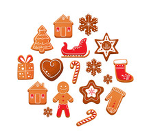 Set Of Christmas Gingerbread C...