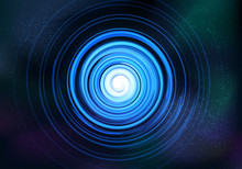 Abstract Symmetrical Fractal Tornado Spiral Galaxy Blue, Digital Artwork For Creative Graphic Design, Stars Sky Background. Computer Generated Graphics. Abstract Illustration
