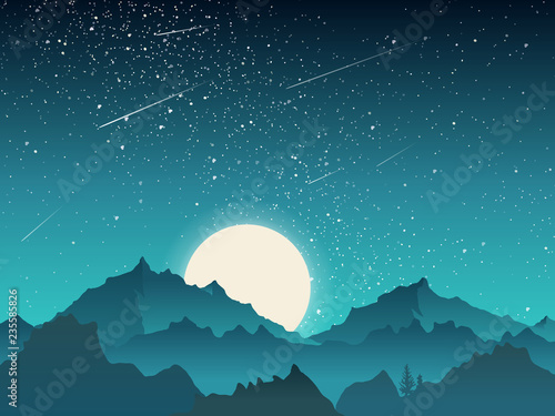 Fototapeta Sky scenery landscape, mountains peak with moon and meteor at night, blue and green tone obraz