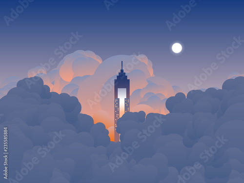 Obraz Sky scenery landscape, tall building reaches the clouds in twilight time, orange and blue tone - fototapety do salonu