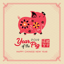 2019 Happy Chinese New Year Of The Pig. Translation: Year Of The Pig Brings Prosperity & Good Fortune.