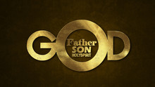 The Word GOD Concept Written In Gold Texture On Wooden Background.