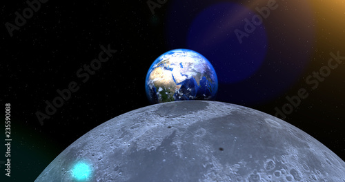 Fototapety, obrazy: A scene of the Earth and Moon in the space.