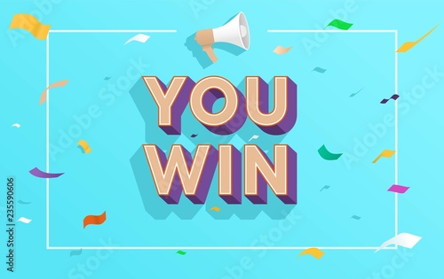 You Win Word Concept Vector Ilration With Megaphone And Style Landing Page Template Ui Web Mobile Poster Banner Flyer Background