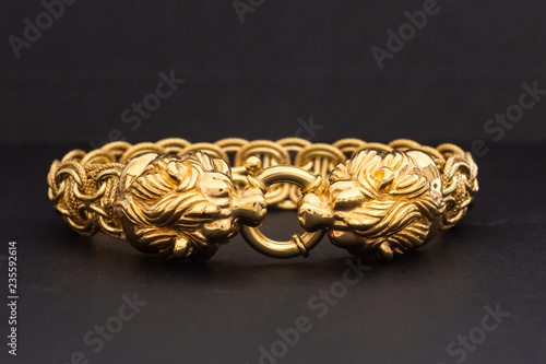 Photo Gold Bracelet with Lion Clasp