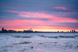 Ice on the Amur river at dusk. Blagoveshchensk