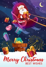Christmas And Santa Claus In Sleigh, Gift Boxes