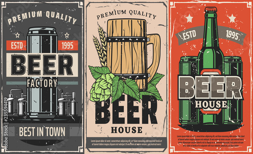 Foto Brewery factory, beer pub and cafe vector poster