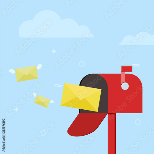 Fotografie, Obraz  Mail box with letters for illustration of post, parcel, mail service, inbox and delivered message