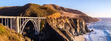 Panoramic View Of Bixby Creek Bridge And The Dramatic Pacific Ocean Coastline, Big Sur, California