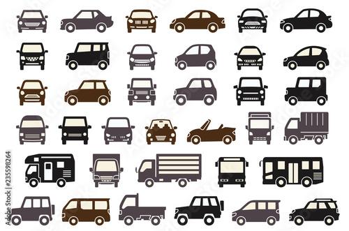 Fotografía  シンプルな車の正面と横(シックカラーのシルエット)