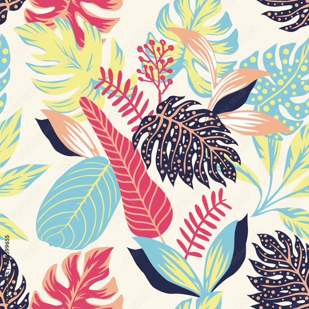 Abstract color tropical leaves seamless light yellow background