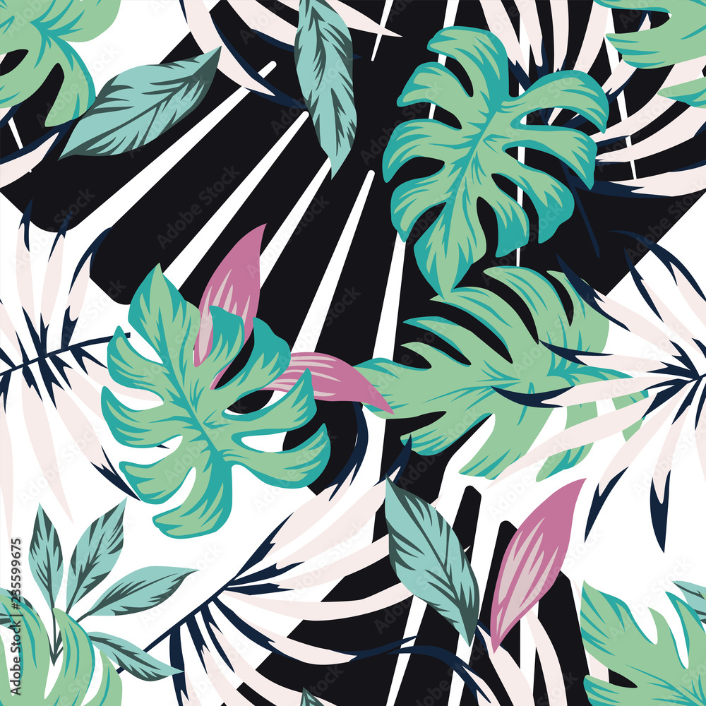 Abstract tropical pattern from leaves black white background