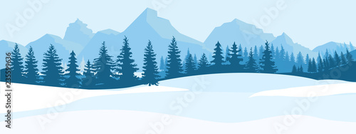 Horizontal Winter Landscape. Mountains fir tree forest in distant. Flat color vector Illustration.