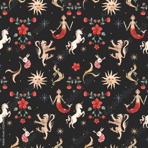 Fototapeta Watercolor pattern with medieval illustrations obraz