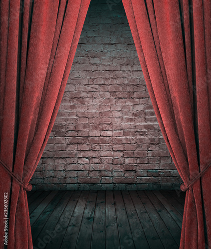 Photo  room with red curtains.