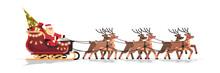 Santa In Sleigh With Reindeers...