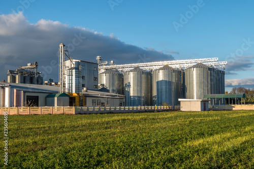 Fototapeta agro-processing plant for processing and silos for drying cleaning and storage of agricultural products, flour, cereals and grain obraz