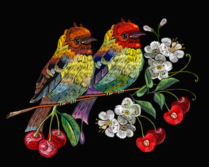 Fototapeta Ptaki Template for clothes, textiles, t-shirt design. Embroidery birds and blossoming cherry