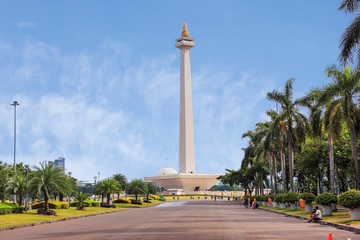Jakarta, Indonesia, national monument (Monas). The national monument or Monas is a 137-meter tower in the center of Jakarta, symbolizing Indonesia's struggle for independence.