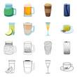Vector illustration of drink and bar symbol. Set of drink and party stock vector illustration.