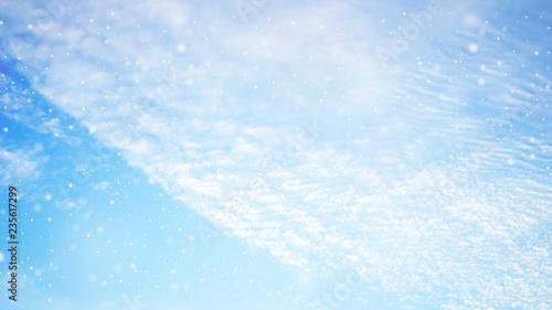 Fotomural  말고푸른 하늘에 눈꽃송이가 휘날리다