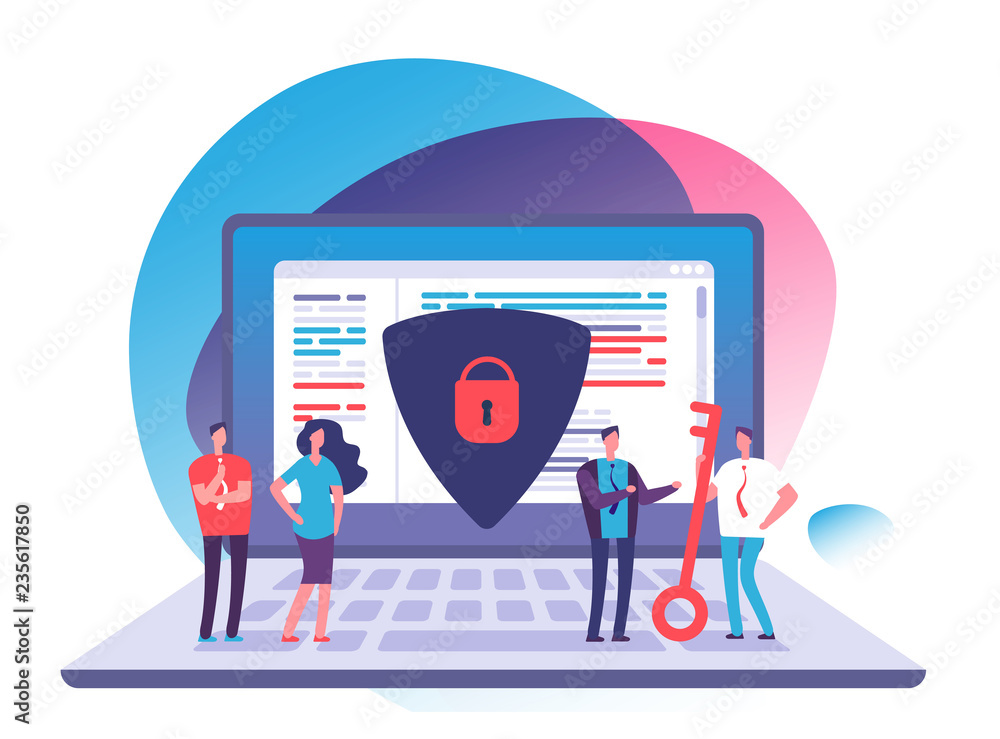Fototapeta Application data protection. Exposed access code security, website and internet safety and online privacy vector concept. Security and protection laptop data illustration