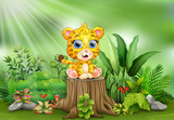 Fototapeta Fototapety na ścianę do pokoju dziecięcego - Cartoon a baby leopard sitting on tree stump with green plants