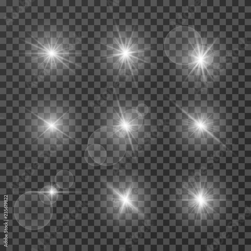 Obraz Lens effects. Camera flash light, flare. White light spot glowing sparkles, starlight isolated on transparent background vector set. Illustration of sparkle glow, flash star shine, bright lens - fototapety do salonu
