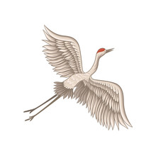 Red-crowned Crane Flying With Wide Open Wings. Wild Creature. Fauna Theme. Decorative Flat Vector Illustration