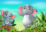 Fototapeta Pokój dzieciecy - Cartoon happy mother and baby elephant in the park