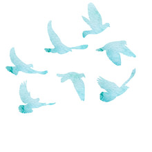 Isolated, Flock Of Flying Birds, Watercolor Blue Silhouette