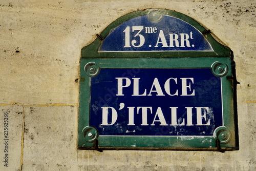 Fotografia, Obraz  place d'Italie; Paris; plaque de nom de rue