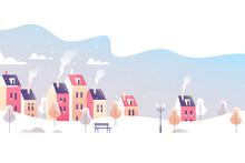 Winter City Landscape. Snowy S...