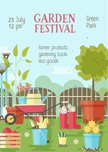 Flyer Or Poster Template With Gardening Or Agricultural Tools, Equipment For Plant Cultivation And Place For Text. Vector Illustration In Flat Style For Garden Festival Advertisement, Promotion.