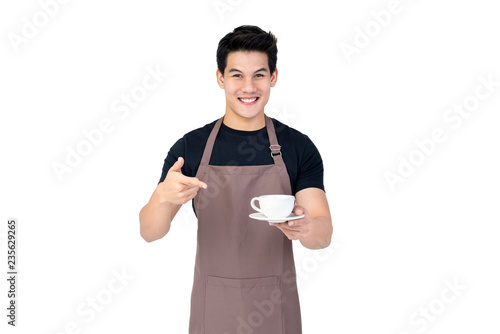 Handsome smiling Asian barista serving coffee studio shot isolated on white back Canvas Print